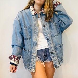 Vintage pattern trim sherpa oversized denim jacket